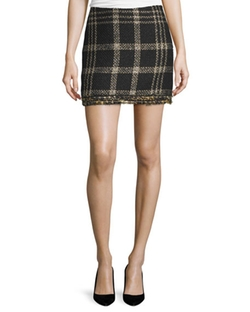 Bex Metallic Plaid Fringed Miniskirt by Rachel Zoe in Powerless