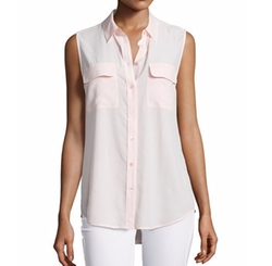 Slim Signature Sleeveless Blouse by Equipment in Riverdale
