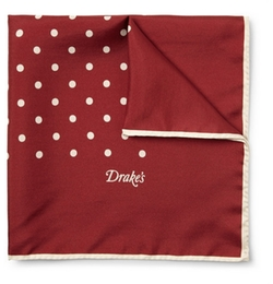 Silk Polka-Dot Pocket Square by Drake's in Spy