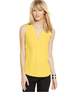 Sleeveless Zippered Knit-Back Top by Inc International Concepts in Absolutely Anything