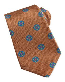 Flower-Medallion Pattern Tie by Kiton in Mortdecai