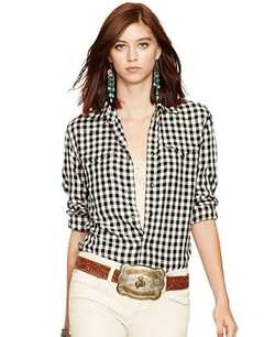 Plaid Western Shirt by Polo Ralph Lauren in Black-ish