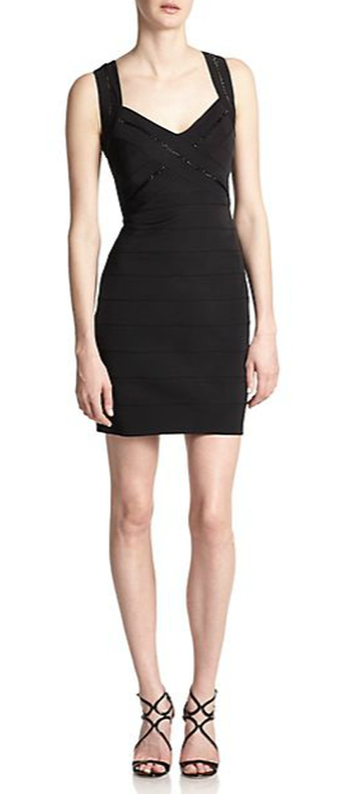 Beaded Bandage Dress by Aidan Mattox in Easy A