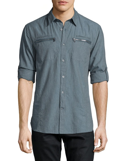 Double Zip-Pocket Woven Shirt by John Varvatos Star USA in Sharknado 4: The Fourth Awakens