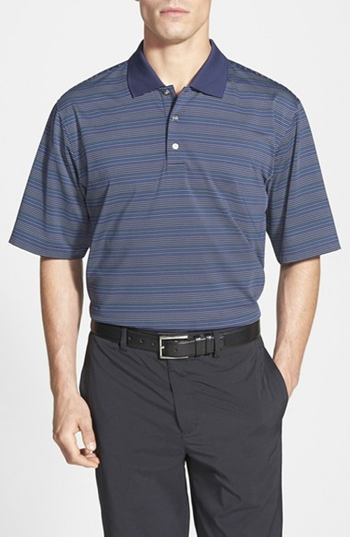 UV Protection Stripe Performance Polo Shirt by SWC in Secret in Their Eyes