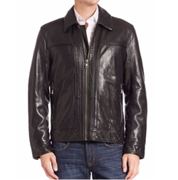 Shirt Collar Leather Jacket by Andrew Marc in Sully