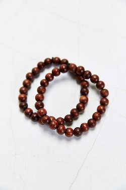 Double Brown Beaded Bracelet by Urban Outfitters in Dope