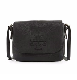 Harper Leather Messenger Bag by Tory Burch in Quantico