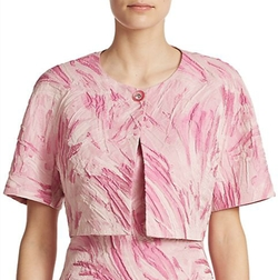 Printed Cropped Jacquard Jacket by Kay Unger in Scream Queens