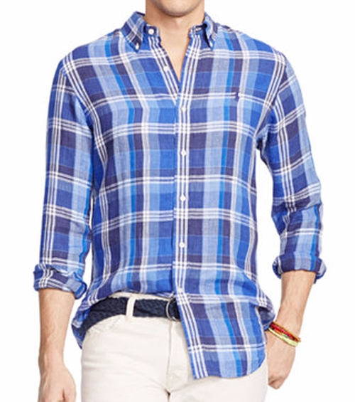 Long Sleeve Plaid Linen Shirt by Polo Ralph Lauren in Hands of Stone
