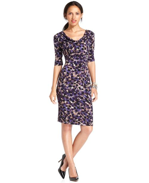 Dot-Print Cowl-Neck Dress by Connected in Hall Pass