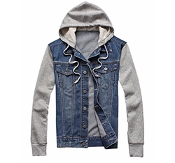 Splice Sleeves Denim Hoodie by Easy Mens in Animal Kingdom