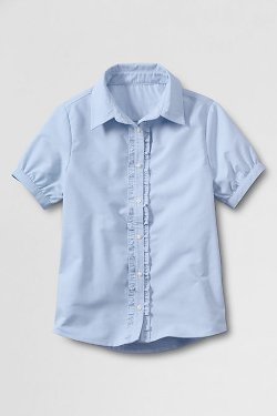 Ruffle Placket Oxford Shirt by Lands' End in (500) Days of Summer