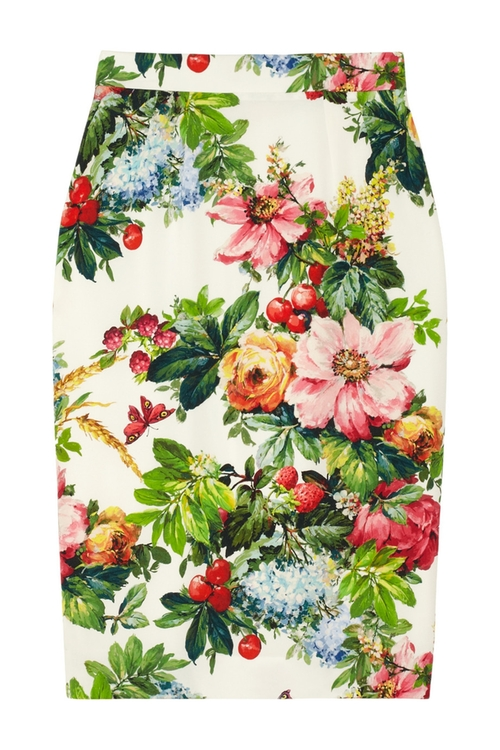 Printed Stretch-Silk Pencil Skirt by Dolce & Gabbana in Focus