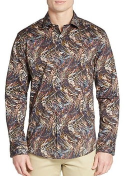 Abstract-Print Cotton Sportshirt by Bugatchi in Everybody Wants Some