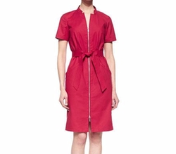 Hathaway Belted Zip-Front Dress by Lafayette 148 New York in New Girl
