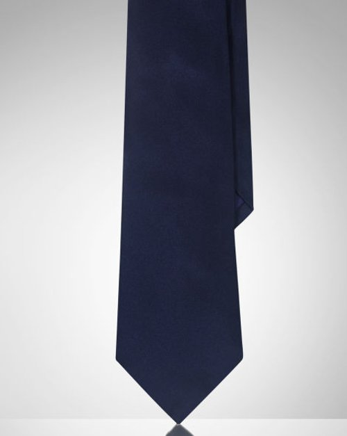 Solid Silk Satin Tie by Ralph Lauren Purple Label in The Man from U.N.C.L.E.