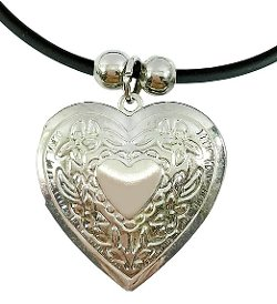 Silver Tone Ivy Heart Photo Necklace by Bijoux De Ja in The Place Beyond The Pines