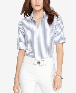 Roll-Tab-Sleeve Striped Shirt by Lauren Ralph Lauren in Quantico