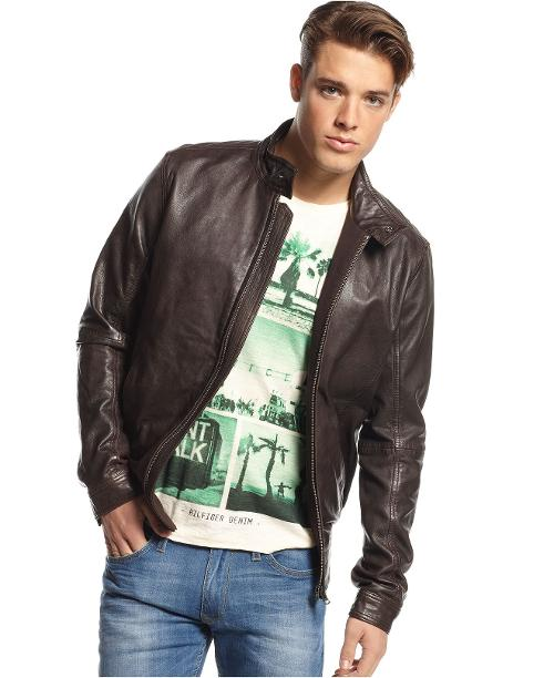 Leather Moto Jacket by Tommy Hilfiger in Addicted