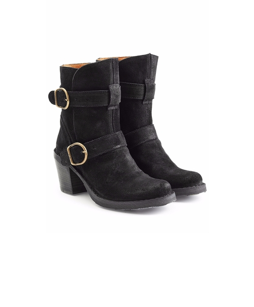 Nolita Stacked Heel Suede Buckle Boots by Fiorentini & Baker in Pretty Little Liars - Season 7 Episode 6