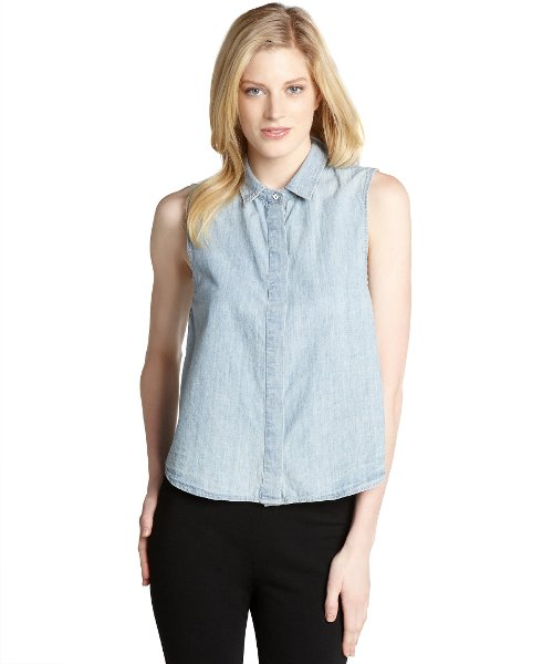 Denim Button Front Tent Sleeveless Top by Rag & Bone in Begin Again