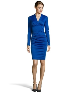 Ponte V-Neck Stretch Long Sleeve Dress by Nicole Miller in Supergirl