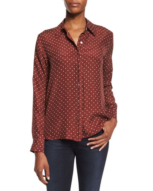Le Classic Dot-Print Silk Shirt by Frame in Brooklyn Nine-Nine - Season 3 Episode 10