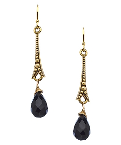 Paris Onyx Drop Earrings by Baubella By Sophia & Chloe in Barely Lethal