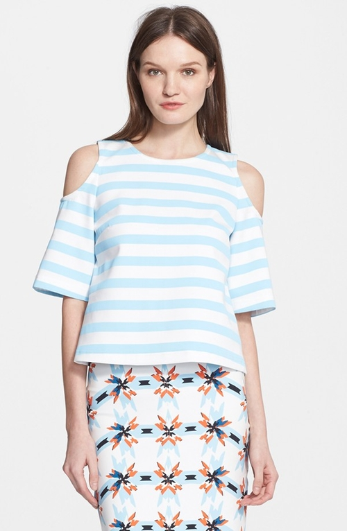 Iris Stripe Cold Shoulder Top by Tanya Taylor in Pretty Little Liars - Season 6 Episode 7