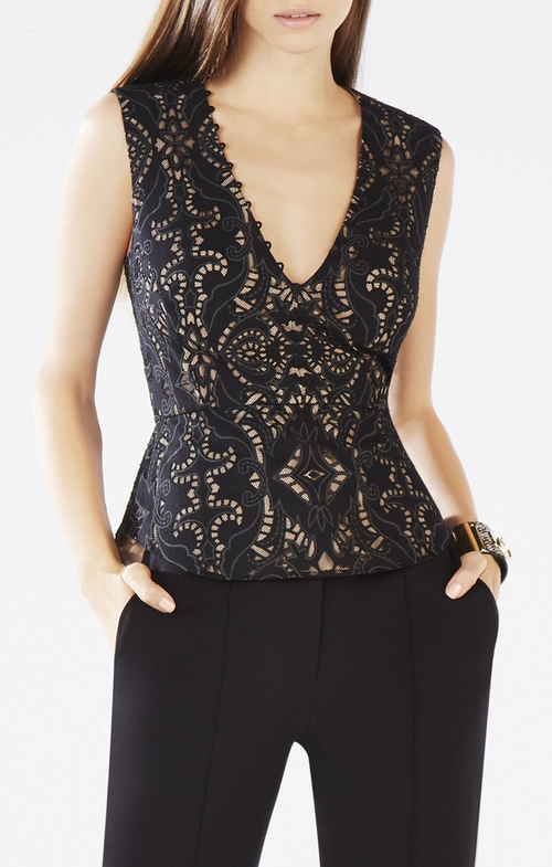 Rena Lace Peplum Top by BCBGMAXAZRIA in The Vampire Diaries - Season 7 Episode 2