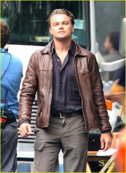 Custom Made Leather Jacket by Jeffrey Kurland (Costume Designer) in Inception