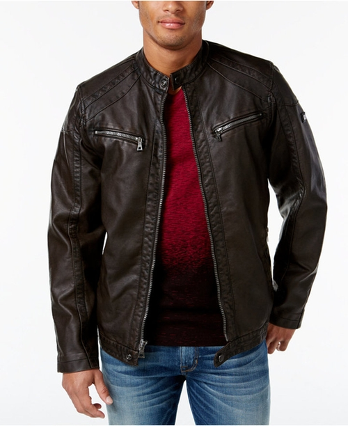 Faux Leather Zip-Front Moto Jacket by INC International Concepts in MacGyver - Season 1 Episode 1