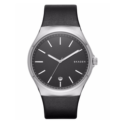 Men's Sundby Black Leather Strap Watch by Skagen in Blair Witch