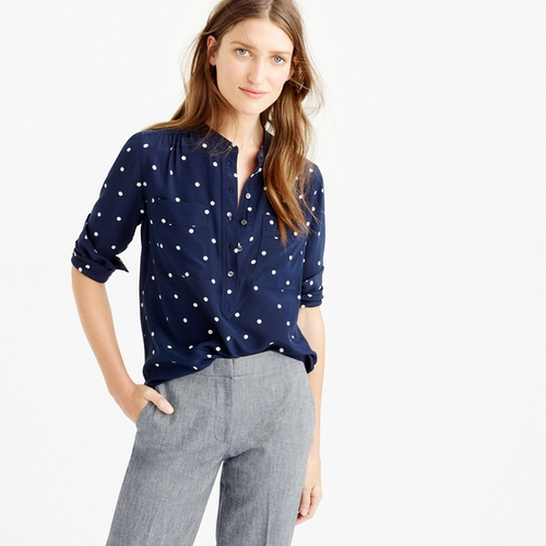 Polka Dot Silk Popover Shirt by J. Crew in Pretty Little Liars - Season 7 Episode 2