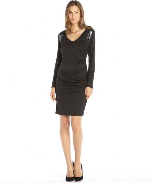 Ponte Knit Sequin Shoulder V-Neck Dress by Nicole Miller in Suits - Season 5 Episode 1