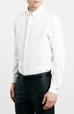 Slim Fit White Tuxedo Dress Shirt by Topman in Sex and the City 2