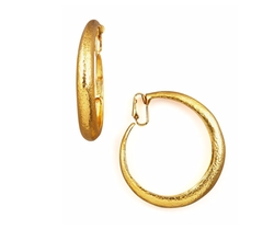Hammered Golden Clip-On Hoops by Jose & Maria Barrera in Empire