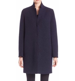 Virgin Wool Cocoon Coat by Harris Wharf London in Collateral Beauty