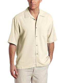 Men's Short Sleeve Bedford Cord Camp Shirt by Cubavera in Blended