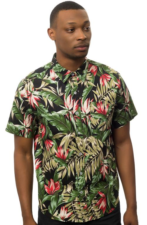 The Waikiki SS Buttondown Shirt in Black by HUF in Savages