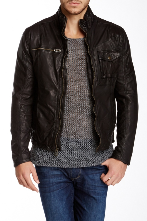 Washed Genuine Leather Moto Jacket by Cole Haan in Nashville - Season 4 Episode 10