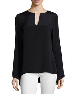 Cole Long-Sleeve Split-Neck Blouse by Ramy Brook	 in Keeping Up With The Kardashians