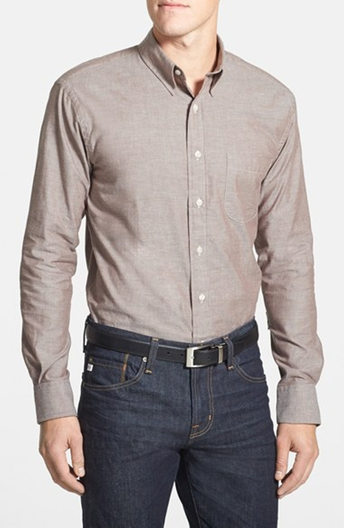 Trim Fit Chambray Sport Shirt by New England Shirt Company in Blackhat