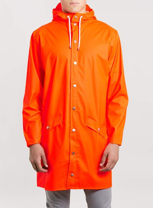 Orange Long Waterproof Jacket by Rains in Man of Steel