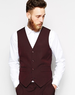 Slim Fit Vest In Burgundy Pindot by Asos in Empire