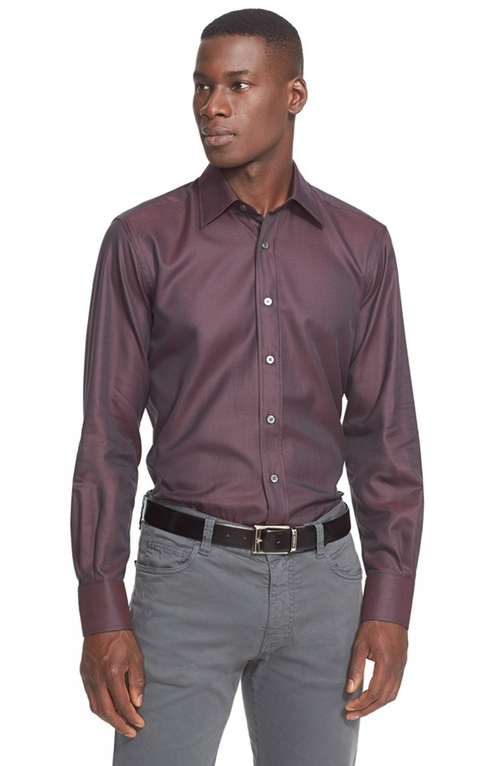 Regular Fit Textured Sport Shirt by Canali in Our Brand Is Crisis