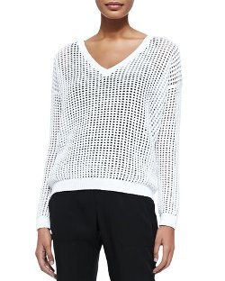 Grid Mesh V-Neck Sweater by Vince in Need for Speed