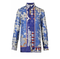 Domino Foulard Silk Shirt by Versace in Empire