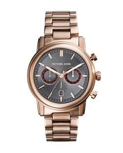 Rose Golden Stainless Steel Pennant Chronograph Watch by Michael Kors in Empire